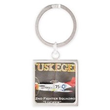 Tuskegee P-51 Lucifer Square Keychain