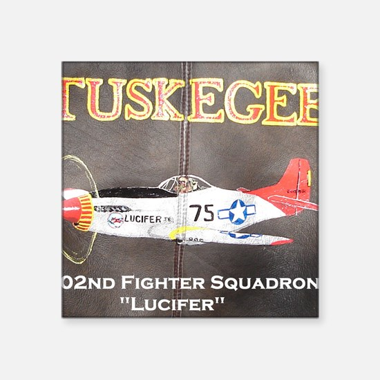 "Tuskegee P-51 Lucifer Square Sticker 3"" x 3"""