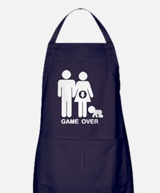 game-over-preg2-bw-DKT Apron (dark)