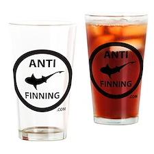 Shark Art (Tighter logo) - Anti-Sha Drinking Glass
