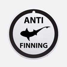 Shark Art (Tighter logo) - Anti-Sha Round Ornament