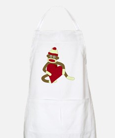 Sock Monkey Love Red Heart Apron