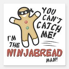 "Ninjabread Man Square Car Magnet 3"" x 3"""