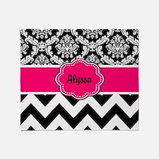 Pink Black Damask Chevron Throw Blanket