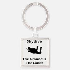 Skydive Ground Limit Black Square Keychain