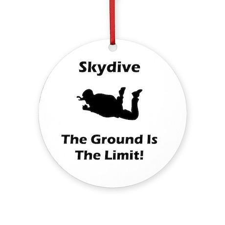 Skydive Ground Limit Black Round Ornament