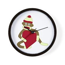 Sock Monkey Love Red Heart Wall Clock