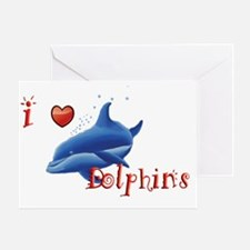 I-love-dolphins-long Greeting Card