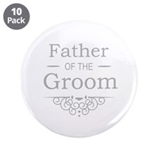 """Father of the Groom silver 3.5"""" Button (10 pack)"""