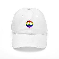 Gay Pride Peace Sign Baseball Cap