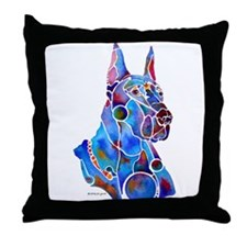 Whimzical Great Dane Art Throw Pillow