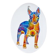 English Bull Terrier Art Gifts Ornament (Oval)