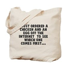 Chicken Or Egg Comes First Tote Bag