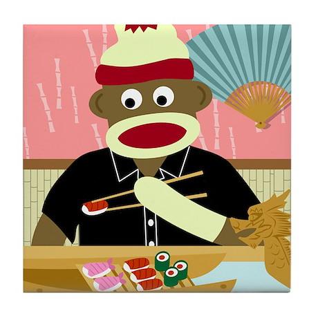 Sock Monkey Sushi Boat Tile Coaster