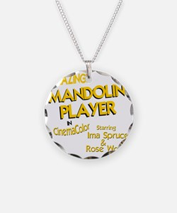 funny mandolin player mandol Necklace Circle Charm