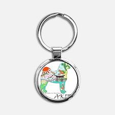 Akita national treasure color nb PN Round Keychain