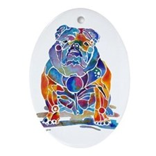 English Bulldogs Oval Ornament