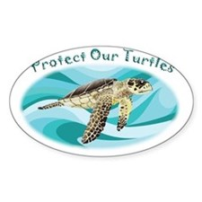 protect our turtles rectangle copy Decal