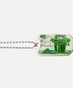 Vintage Green St Patricks Day Shamrock Ha Dog Tags