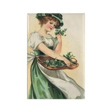 woman-with-basket-of-shamrocks Rectangle Magnet