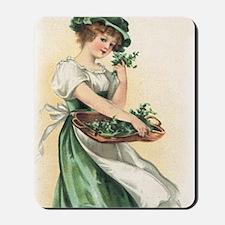 woman-with-basket-of-shamrocks Mousepad