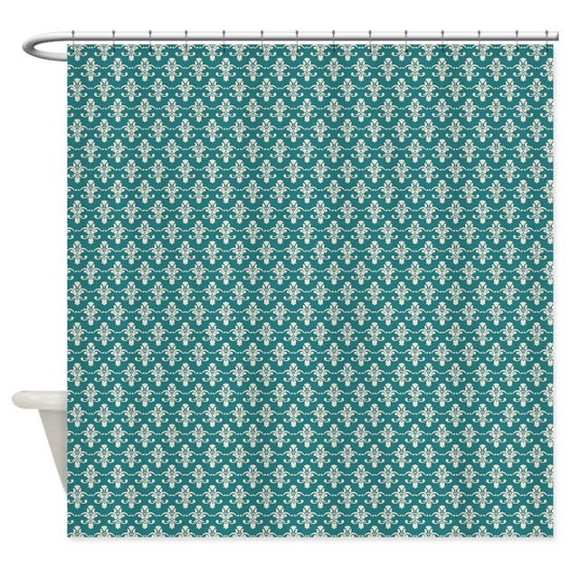 Peach damask on Green Shower Curtain by FamilyFunShoppe
