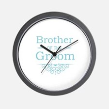 Brother of the Groom blue Wall Clock