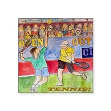 "tennis tile Square Sticker 3"" x 3"""