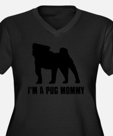 pug1 Women's Plus Size Dark V-Neck T-Shirt