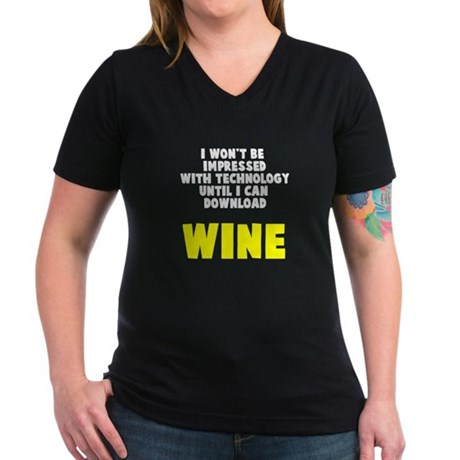 Download Wine Women's V-Neck Dark T-Shirt