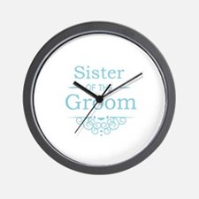 Sister of the Groom blue Wall Clock