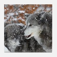 ms shn wolf Tile Coaster