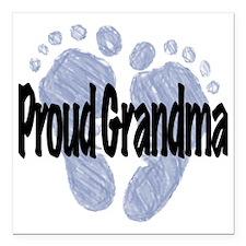 "Proud Grandma (Boy) Square Car Magnet 3"" x 3"""