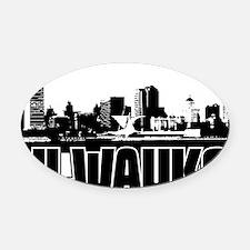 Milwaukee Skyline Oval Car Magnet