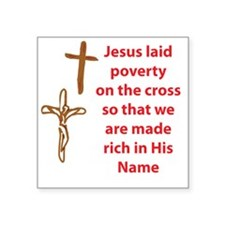 """MadeRichOnTheCross Square Sticker 3"""" x 3"""""""
