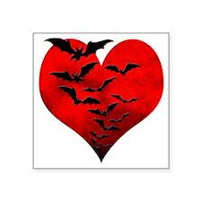 """Heart_Bats_Dark_T Square Sticker 3"""" x 3"""""""