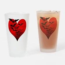 Heart_Bats_Dark_T Drinking Glass
