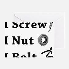 Screw Nut Bolt Black Greeting Card