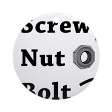 Screw Nut Bolt Black Round Ornament