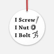 Screw Nut Bolt Black Round Ornament