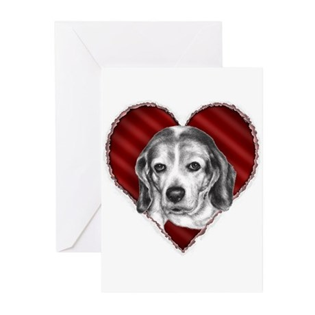 Beagle Valentine Greeting Cards (Pk of 10)