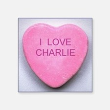 "HEART CHARLIE Square Sticker 3"" x 3"""
