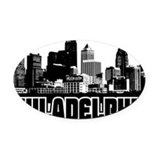 Philadelphia Skyline Oval Car Magnet