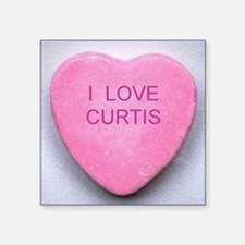 "HEART CURTIS Square Sticker 3"" x 3"""