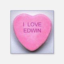 "HEART EDWIN Square Sticker 3"" x 3"""