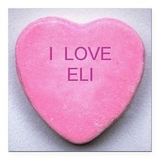 "HEART ELI Square Car Magnet 3"" x 3"""