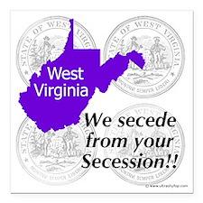 """West Virginia Square Car Magnet 3"""" x 3"""""""