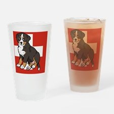 Sitting Bernese Mountain Dog Puppy  Drinking Glass