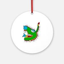 Aztec Glyph Alligator Cipactli Round Ornament