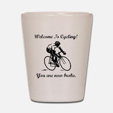 Cycling Broke Black Shot Glass